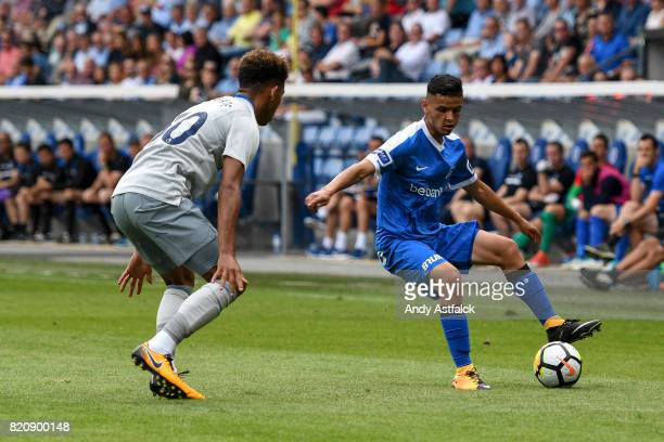 Amine Khammas from KRC Genk and Mason Holgate from Everton during the PreSeason Friendly between KRC Genk and Everton at Cristal Arena on July 22...