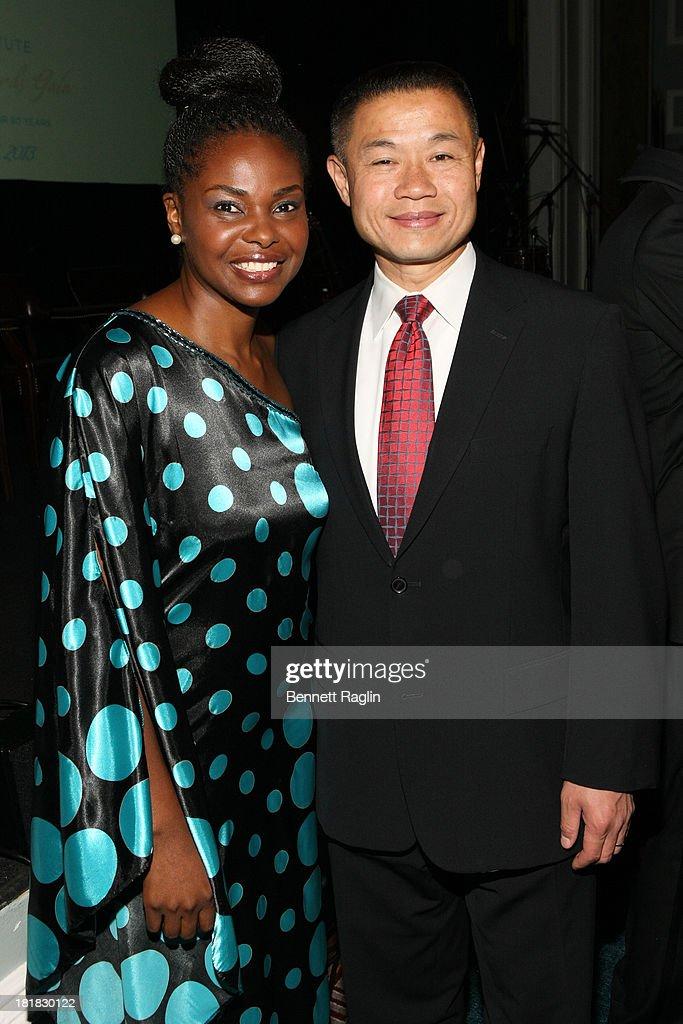 Amini Kajunju and John Liu attend Africa-America Institute 60th Anniversary Awards Gala at New York Hilton on September 25, 2013 in New York City.