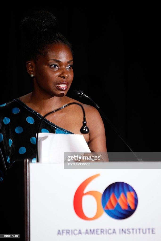 Amini Kajunju speaks during the Africa-America Institute 60th Anniversary Awards Gala at New York Hilton on September 25, 2013 in New York City.