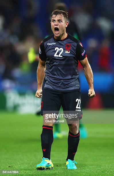 Amir Abrashi of Albania celebrates his team's 10 win after the UEFA EURO 2016 Group A match between Romania and Albania at Stade des Lumieres on June...