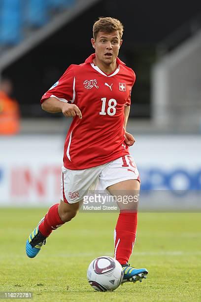 Amir Abrashi of Switzerland during the UEFA European Under21 Championship Group A match between Switzerland and Iceland at the Aalborg Stadium on...