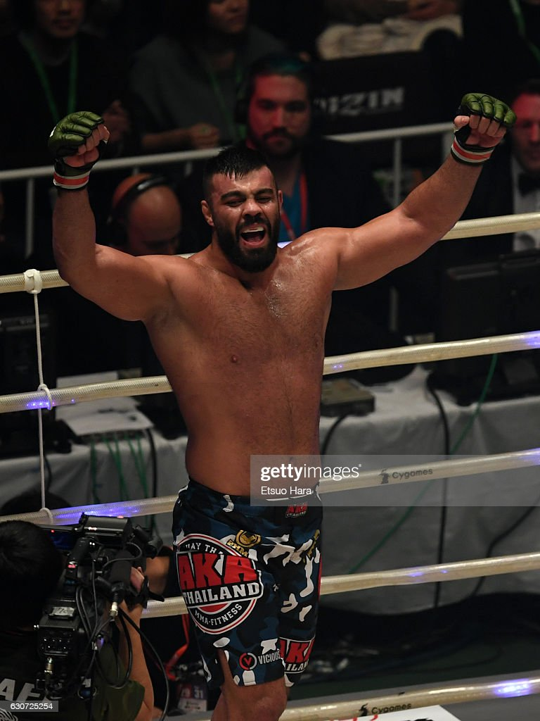 Amir Aliakbari of Iran celebrates his decision victory in the Semi-Final bout against Valentin Moldavsky of Russia during the RIZIN Fighting World GP 2016 final round at Saitama Super Arena on December 31, 2016 in Saitama, Japan.