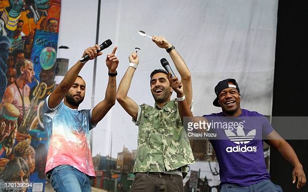 Amir Amor and Kesi Dryden of Rudimental perform at Finsbury Park on June 7 2013 in London England