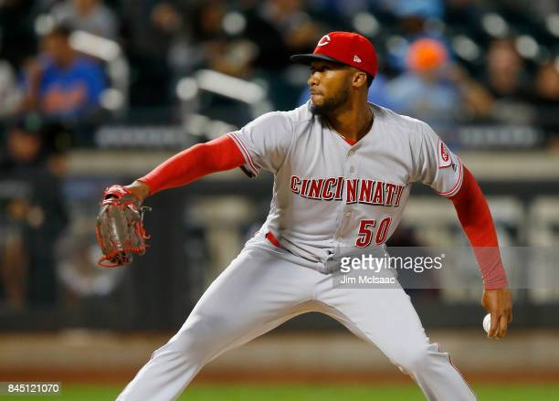 Amir Garrett of the Cincinnati Reds in action against the New York Mets at Citi Field on September 8 2017 in the Flushing neighborhood of the Queens...