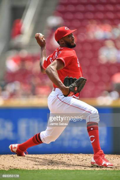 Amir Garrett of the Cincinnati Reds pitches against the Atlanta Braves at Great American Ball Park on June 4 2017 in Cincinnati Ohio