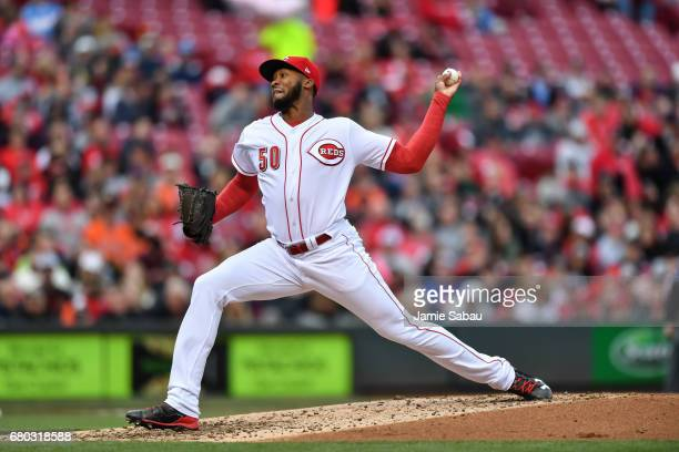 Amir Garrett of the Cincinnati Reds pitches against the San Francisco Giants at Great American Ball Park on May 6 2017 in Cincinnati Ohio