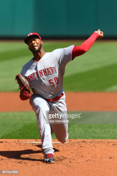 Amir Garrett of the Cincinnati Reds pitches against the St Louis Cardinals in the first inning at Busch Stadium on September 14 2017 in St Louis...