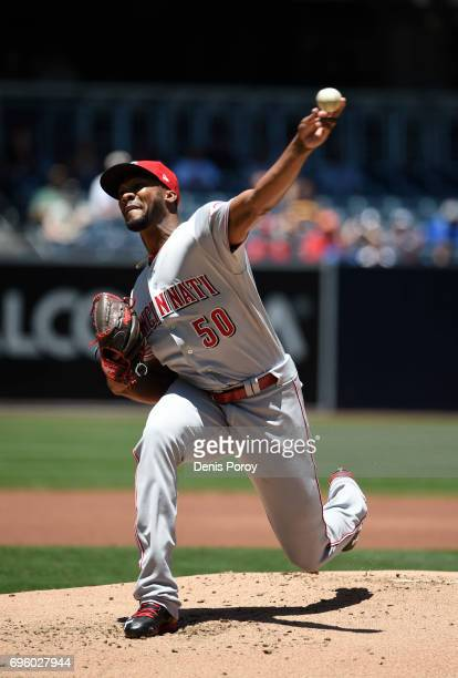 Amir Garrett of the Cincinnati Reds pitches during the first inning of a baseball game against the Cincinnati Reds at PETCO Park on June 14 2017 in...