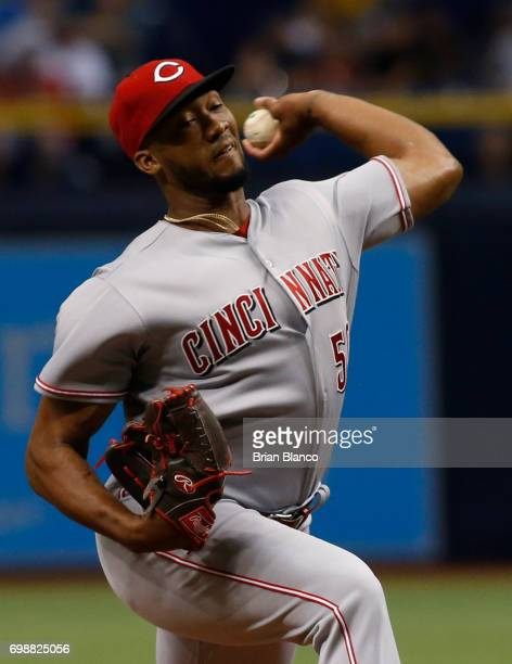 Amir Garrett of the Cincinnati Reds pitches during the first inning of a game against the Tampa Bay Rays on June 20 2017 at Tropicana Field in St...