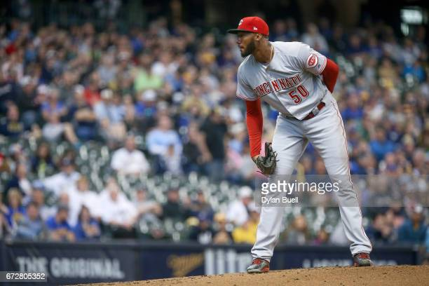 Amir Garrett of the Cincinnati Reds pitches in the first inning against the Milwaukee Brewers at Miller Park on April 24 2017 in Milwaukee Wisconsin