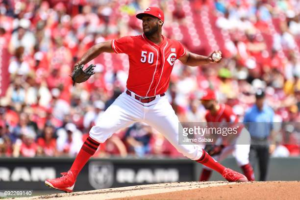 Amir Garrett of the Cincinnati Reds pitches in the first inning against the Atlanta Braves at Great American Ball Park on June 4 2017 in Cincinnati...