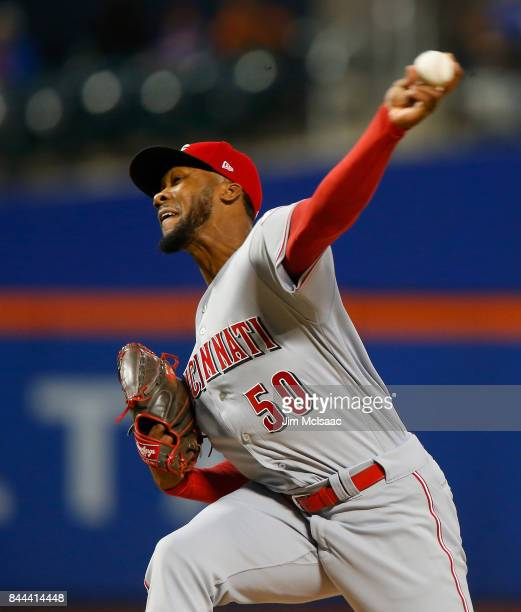 Amir Garrett of the Cincinnati Reds pitches in the first inning against the New York Mets at Citi Field on September 8 2017 in the Flushing...