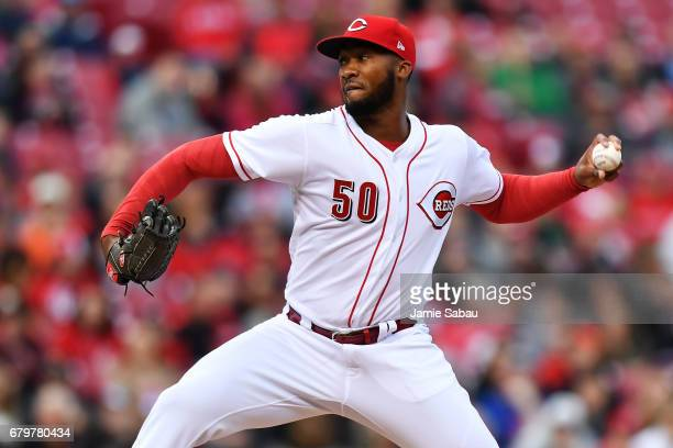 Amir Garrett of the Cincinnati Reds pitches in the second inning against the San Francisco Giants at Great American Ball Park on May 6 2017 in...