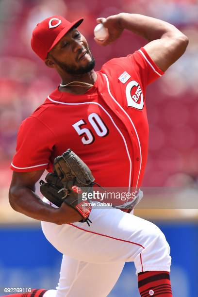 Amir Garrett of the Cincinnati Reds pitches in the second inning against the Atlanta Braves at Great American Ball Park on June 4 2017 in Cincinnati...