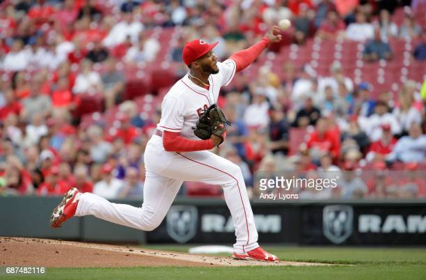 Amir Garrett of the Cincinnati Reds throws a pitch during the game against the Cleveland Indians at Great American Ball Park on May 23 2017 in...