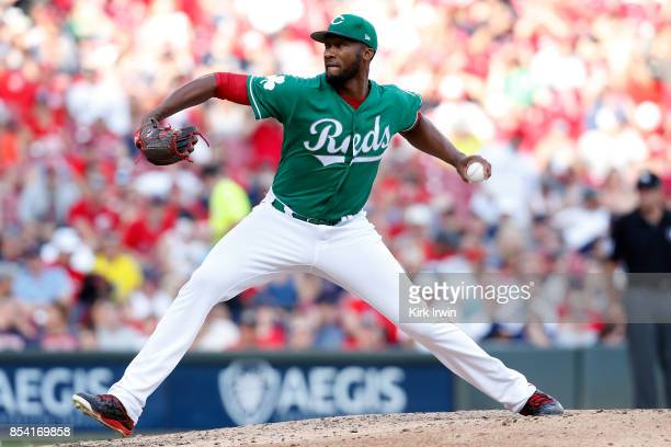 Amir Garrett of the Cincinnati Reds throws a pitch during the game against the Boston Red Sox at Great American Ball Park on September 23 2017 in...