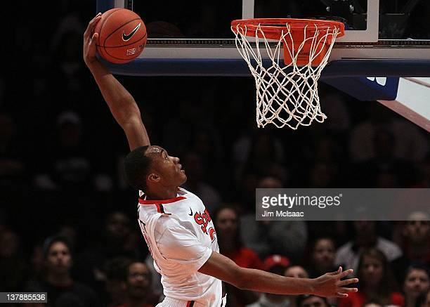 Amir Garrett of the St John's Red Storm in action against the Villanova Wildcats on January 21 2012 at Madison Square Garden in New York City...