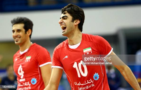 Amir Ghafour during 17th Asian Men's Volleyball Championship between Iran And Korea on October 6 2013 in Dubai United Arab Emirates