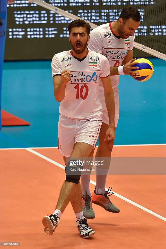 Amir Ghafour #10 of Iran celebrate a point during the Men's World Olympic Qualification game between Iran and Australia at Tokyo Metropolitan Gymnasium on May 28, 2016 in Tokyo, Japan.