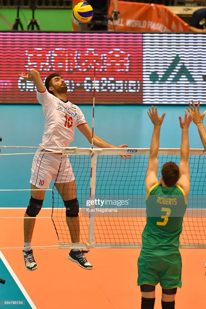 Amir Ghafour #10 of Iran spikes the ball during the Men's World Olympic Qualification game between Iran and Australia at Tokyo Metropolitan Gymnasium on May 28, 2016 in Tokyo, Japan.