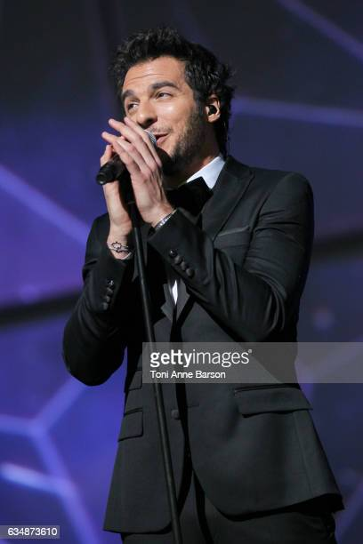 Amir Haddad performs during the '32nd Victoires de la Musique 2017' at Le Zenith on February 10 2017 in Paris France