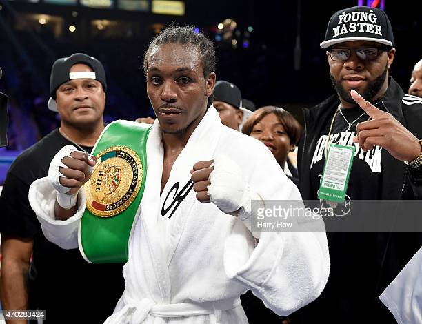 Amir Imam poses with the belt after defeating Walter Castillo in a unanimous decision to retain his super lightweight title at StubHub Center on...