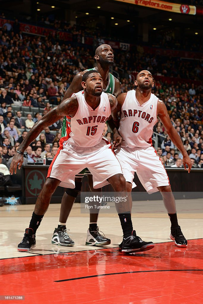 <a gi-track='captionPersonalityLinkClicked' href=/galleries/search?phrase=Amir+Johnson&family=editorial&specificpeople=556786 ng-click='$event.stopPropagation()'>Amir Johnson</a> #15 and <a gi-track='captionPersonalityLinkClicked' href=/galleries/search?phrase=Alan+Anderson&family=editorial&specificpeople=3945355 ng-click='$event.stopPropagation()'>Alan Anderson</a> #6 of the Toronto Raptors box out <a gi-track='captionPersonalityLinkClicked' href=/galleries/search?phrase=Kevin+Garnett&family=editorial&specificpeople=201473 ng-click='$event.stopPropagation()'>Kevin Garnett</a> #5 of the Boston Celtics during the game on February 6, 2013 at the Air Canada Centre in Toronto, Ontario, Canada.