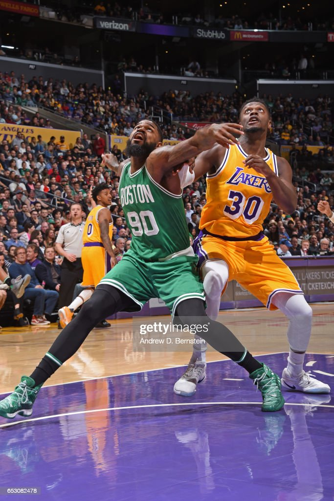 Amir Johnson #90 of the Boston Celtics boxes out against Julius Randle #30 of the Los Angeles Lakers on March 3, 2017 at STAPLES Center in Los Angeles, California.