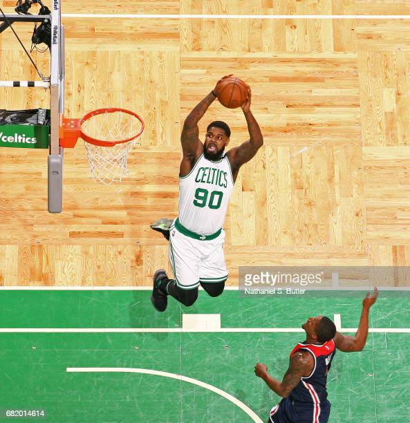 Amir Johnson of the Boston Celtics dunks the ball against the Washington Wizards in Game Five of the Eastern Conference Semifinals during the 2017...