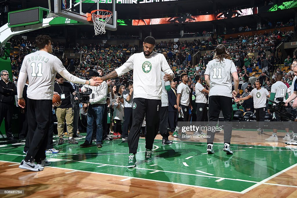 <a gi-track='captionPersonalityLinkClicked' href=/galleries/search?phrase=Amir+Johnson&family=editorial&specificpeople=556786 ng-click='$event.stopPropagation()'>Amir Johnson</a> #90 of the Boston Celtics gets introduced before the game against the Sacramento Kings on February 7, 2016 at the TD Garden in Boston, Massachusetts.