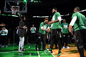 Amir Johnson of the Boston Celtics gets introduced before the game against the Atlanta Hawks in Game Six of the Eastern Conference Quarterfinals...