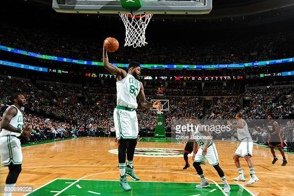 Amir Johnson of the Boston Celtics gets the rebound during the game against the Miami Heat on December 30 2016 at the TD Garden in Boston...