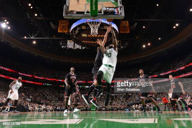 Amir Johnson of the Boston Celtics goes to the basket against the Chicago Bulls during the Eastern Conference Quarterfinals of the 2017 NBA Playoffs...