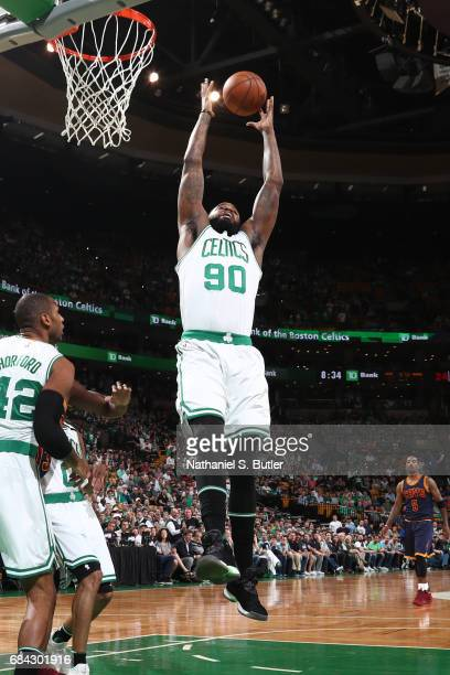 Amir Johnson of the Boston Celtics grabs the rebound against the Cleveland Cavaliers in Game One of the Eastern Conference Finals during the 2017 NBA...