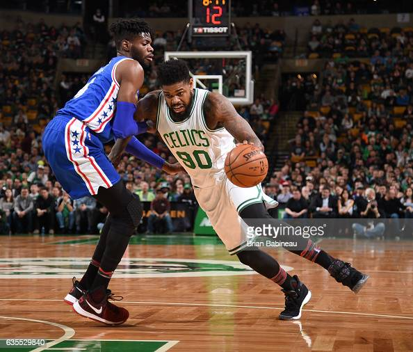 Amir Johnson of the Boston Celtics handles the ball during a game against the Philadelphia 76ers on February 15 2017 at TD Garden in Boston...
