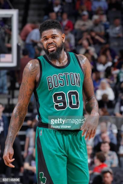 Amir Johnson of the Boston Celtics looks on during the game against the Sacramento Kings on February 8 2017 at Golden 1 Center in Sacramento...