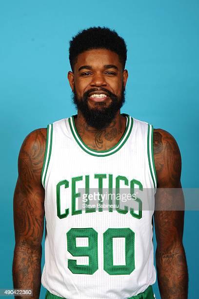 Amir Johnson of the Boston Celtics poses for media day on September 25 2015 at the Boston Celtics Training Center in Waltham Massachusetts NOTE TO...
