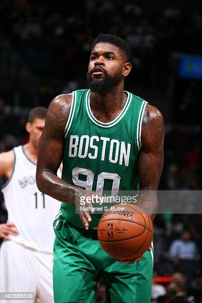 Amir Johnson of the Boston Celtics prepares to shoot against the Brooklyn Nets during the preseason game on October 14 2015 at Barclays Center in...