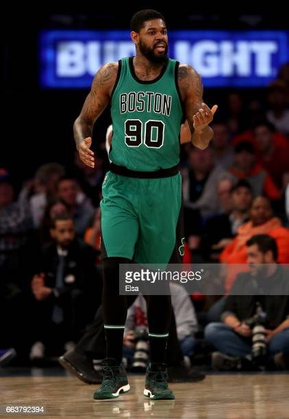 Amir Johnson of the Boston Celtics reacts in the first quarter against the New York Knicks at Madison Square Garden on April 2 2017 in New York City...
