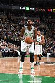Amir Johnson of the Boston Celtics shoots a free throw against the Milwaukee Bucks on February 25 2016 at the TD Garden in Boston Massachusetts NOTE...
