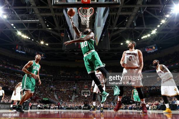 Amir Johnson of the Boston Celtics shoots a lay up during the game against the Cleveland Cavaliers in Game Three of the Eastern Conference Finals...