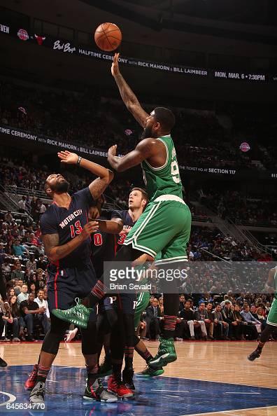 Amir Johnson of the Boston Celtics shoots the ball against the Detroit Pistons on February 26 2017 at The Palace of Auburn Hills in Auburn Hills...