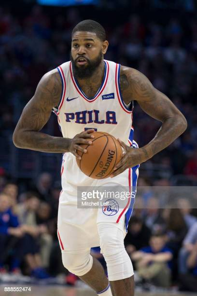 Amir Johnson of the Philadelphia 76ers controls the ball against the Detroit Pistons at the Wells Fargo Center on December 2 2017 in Philadelphia...