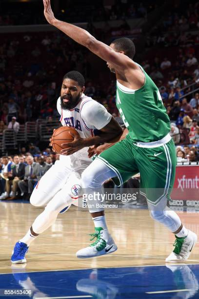 Amir Johnson of the Philadelphia 76ers handles the ball against the Boston Celtics on October 6 2017 in Philadelphia Pennsylvania at the Wells Fargo...