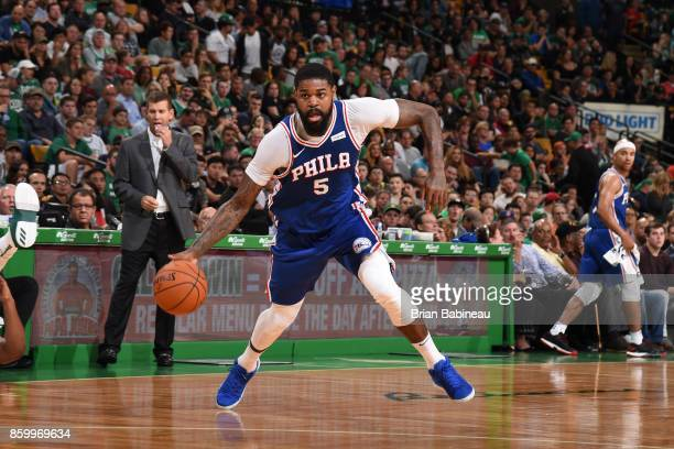 Amir Johnson of the Philadelphia 76ers handles the ball during the preseason game against the Boston Celtics on October 9 2017 at the TD Garden in...