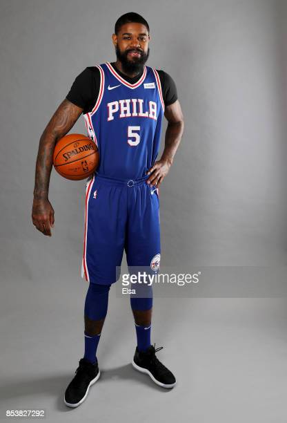 Amir Johnson of the Philadelphia 76ers poses for a portrait during the Philadelphia 76ers Media Day on September 25 2017 at the Philadelphia 76ers...
