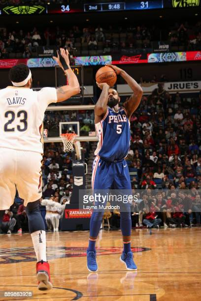 Amir Johnson of the Philadelphia 76ers shoots the ball against the New Orleans Pelicans on December 10 2017 at the Smoothie King Center in New...