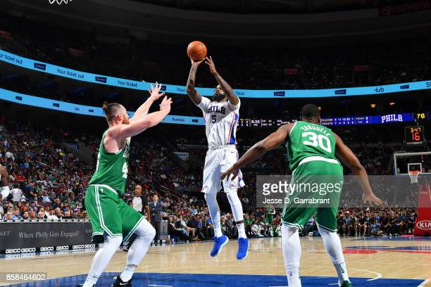 Amir Johnson of the Philadelphia 76ers shoots the ball during the game against the Boston Celtics during a preseason on October 6 2017 at Wells Fargo...