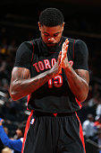 Amir Johnson of the Toronto Raptors before the game against the New York Knicks on February 28 2015 at Madison Square Garden in New York City New...