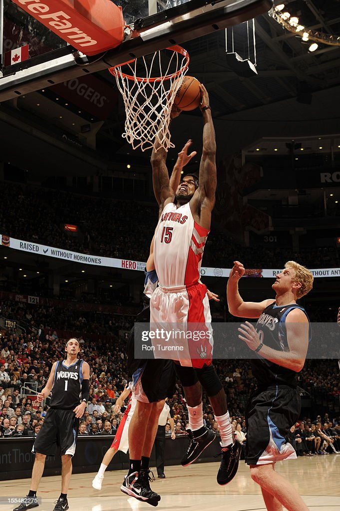 Amir Johnson #15 of the Toronto Raptors drunks the ball vs the Minnesota Timberwolves during the game on November 4, 2012 at the Air Canada Centre in Toronto, Ontario, Canada.